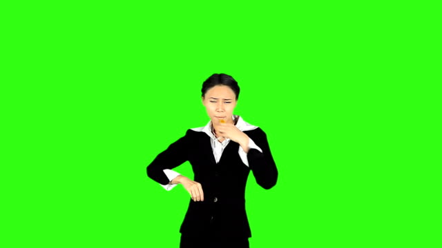 Business Woman Blowing A Whistle And Showing Red Card