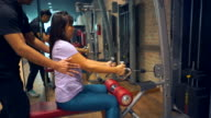 Business woman exercise in gym.