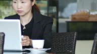 business woman using laptop and drinking coffee