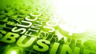 Business Words Background Loop - Corner Glow Green (Full HD)