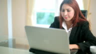 Business young woman with laptop
