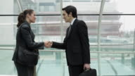 MS Businessman and businesswoman meeting and shaking hands on airport bridge / Toulouse, Haute-Garonne, France