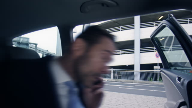 Businessman boarding car