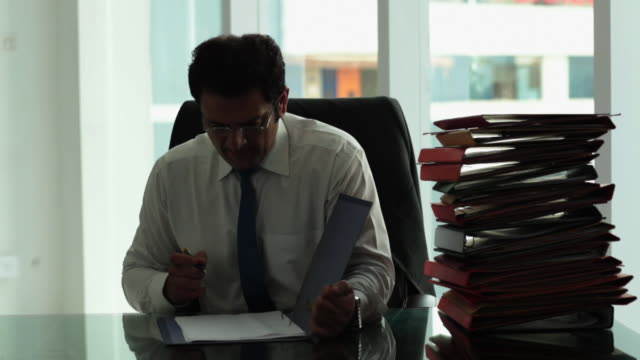 Businessman checking file in an office