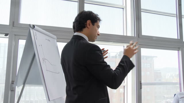 HD: Businessman Giving Presentation Of His Research Project
