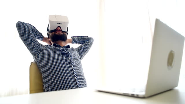businessman in virtual reality glasses