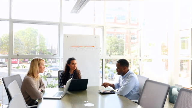 MS Businessman leading discussion with colleagues during meeting in conference room