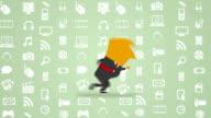 Businessman modern  tecnology icons green