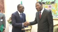 Businessman Patrice Talon meets with outgoing head of state Thomas Boni Yayi before being sworn in as Benins new president