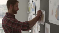 MS Businessman pinning project ideas on board in office