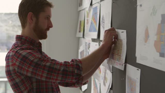 MS Businessman pinning project ideas on board in office