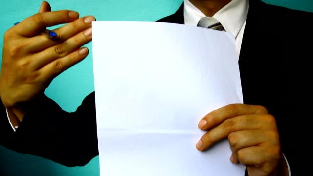 Geschäftsmann, Schild Papier dokumentieren