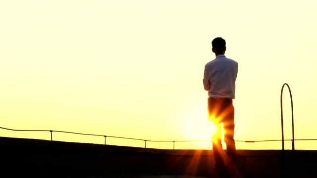 Businessman standing on a roof with sunset