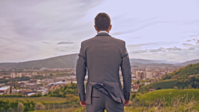 Businessman standing on the hill with arms crossed
