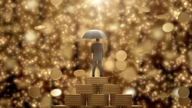 Zakenman permanent met paraplu onder de regen geld.