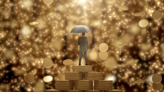 Businessman Standing with Umbrella Under the Money Rain.