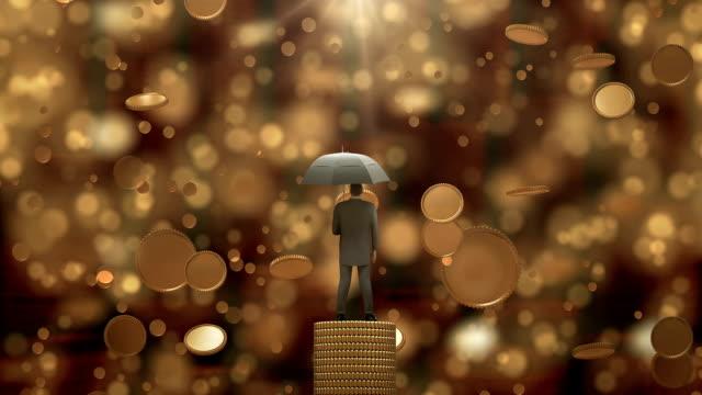 Zakenman permanent met paraplu onder de regen geld