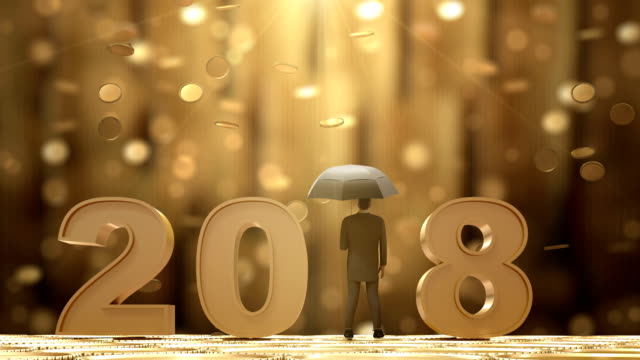2018 Businessman Standing with Umbrella Under the Money Rain