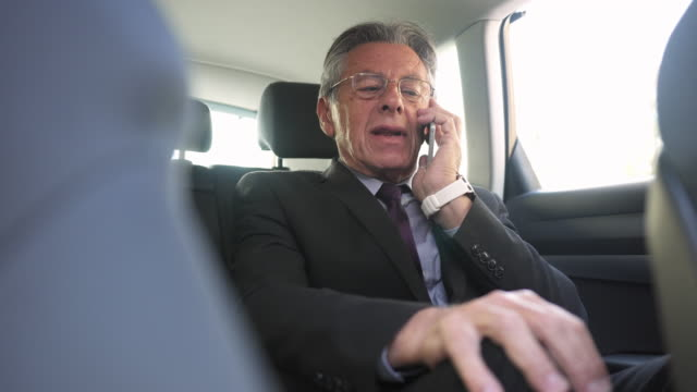 Businessman talking over the phone in a car