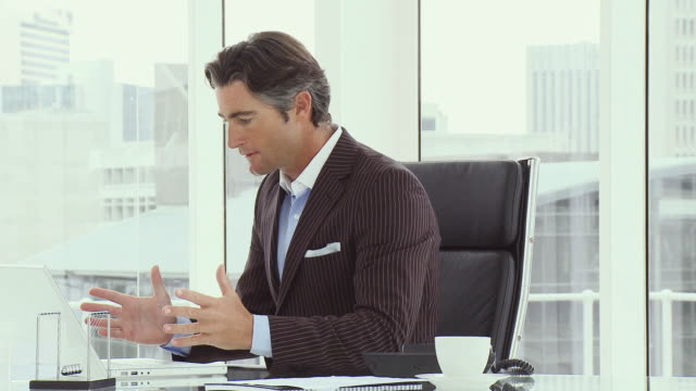 MS Businessman using laptop in office, laughing and punching air / Cape Town, South Africa