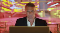 CU SELECTIVE FOCUS Businessman using laptop, Los Angeles, California, USA