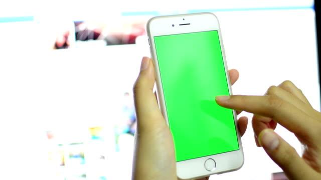 Businessman using smart phone touchscreen ,Chroma key.