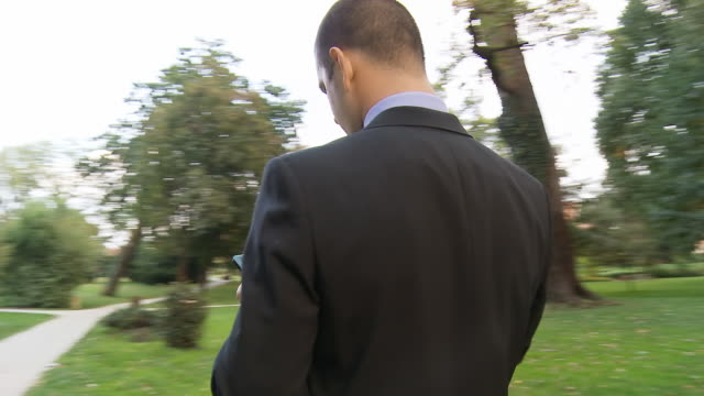 HD STEADY SHOT: Businessman Using Tablet In The Park