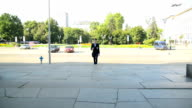 Businessman walking around the city