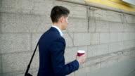 Businessman walking around