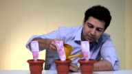 Businessman watering indian banknotes in potted plant, Delhi, India