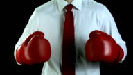 HD SLOW MOTION: Businessman With Boxing Gloves