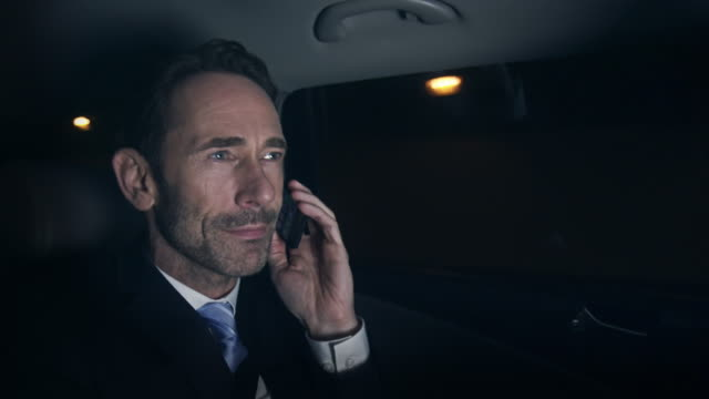 Businessman with phone in car