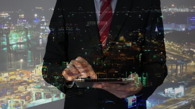 Businessman working on technology interface
