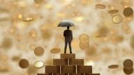 Businessman3d staande met paraplu onder de regen geld.