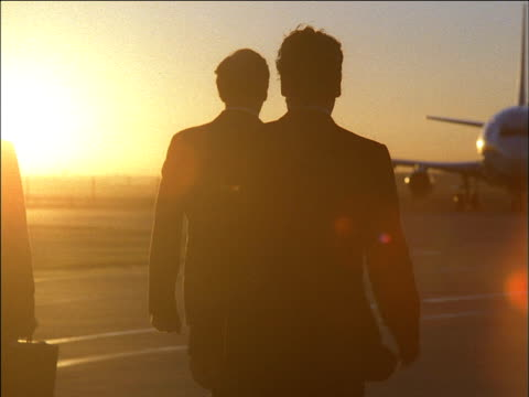 Businessmen walking towards aeroplane on tarmac, sunset in background