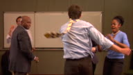 MS, Businesspeople dancing in conference room