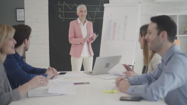 4 K : Geschäftsleute haben Treffen im Büro.