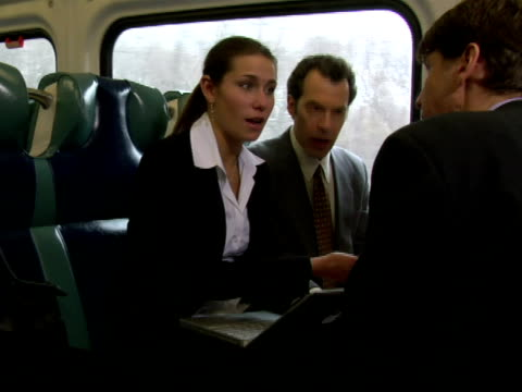 MS, Businesspeople working in train, Chappaqua, New York State, USA, CU