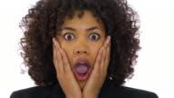 Businesswoman acting shocked