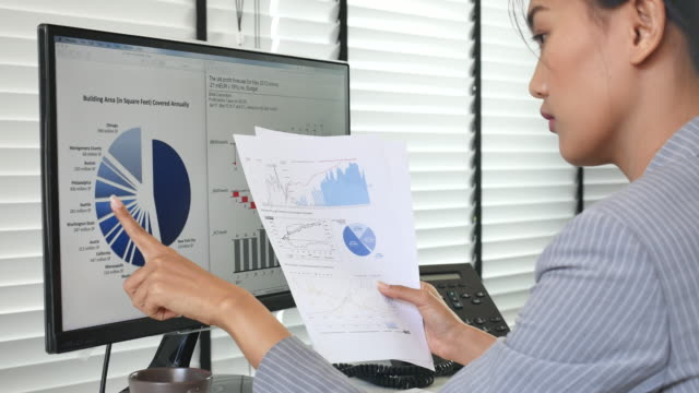 Businesswoman Analyzing data for her business project, Dolly shot
