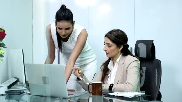 Businesswoman doing meeting with secretary in the office, Delhi, India