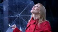 Businesswoman Exposing To The Rain