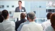 Businesswoman giving a speech