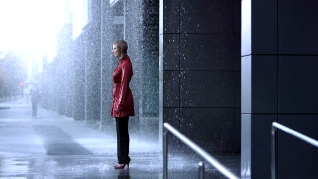 Businesswoman In The Rain (Super Slow Motion)