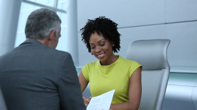 MS TD Businesswoman Interviewing for Job in Corporate Office, Shaking Hands / Richmond, Virginia, United States