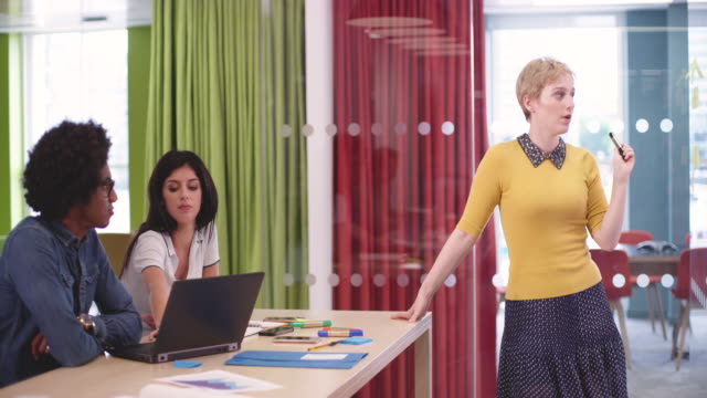 Businesswoman leading brainstorming meeting in creative office