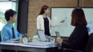 Businesswoman presentation on whiteboard with his startup team in meeting room , dolly shot left to right