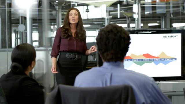 Frau Geschäftsfrau präsentieren der Finanzberichte