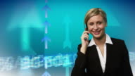 CU, COMPOSITE, Businesswoman talking on mobile phone, stock market data in background