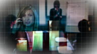 CU, MULTIPLE EXPOSURE, Businesswoman talking on mobile phone with silhouette of woman giving presentation and bar graph